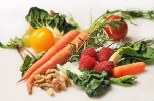 Gemüse und Früchte auf dem Speiseplan
