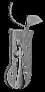 Aderlass-Schnäpper um 1900: Ein Messer mit Federvorrichtung.